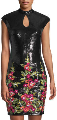 Jovani Floral-Embroidered Sequin Cocktail Dress