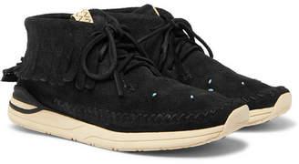 Visvim Maliseet Shaman Fringed Embellished Brushed-Suede Sneakers