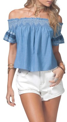 Women's Rip Curl Bianca Embroidered Off The Shoulder Top $49.50 thestylecure.com