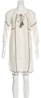 Velvet Embroidered Knee-Length Dress