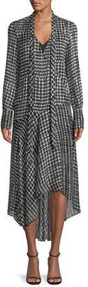 Theory Tie-Neck Long-Sleeve Broken Oval Silk-Blend Scarf Wrap Dress
