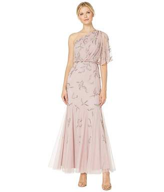 Adrianna Papell One Shoulder Beaded Evening Gown