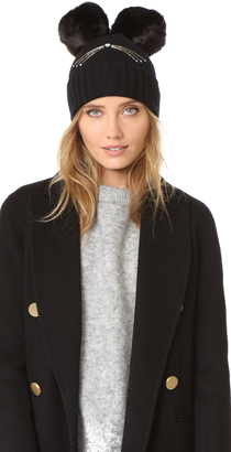 Kate Spade New York Cat Beanie with Faux Fur Pom Pom $68 thestylecure.com