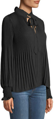 Max Studio Long-Sleeve V-Neck Pleated Blouse