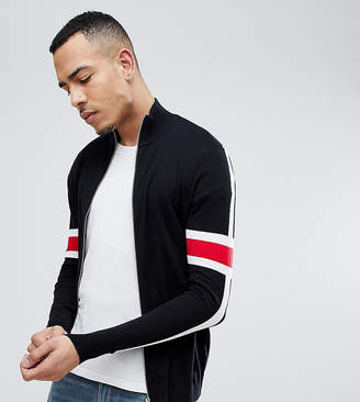 Asos DESIGN Tall Knitted Track Jacket With Striped Sleeves In Black