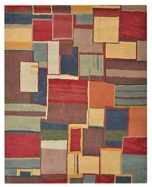 Rugsource Hand Tufted Wool Contemporary Carpet Color Blocks Indian Oriental Multicolor Geometric Area Rug Rugsource