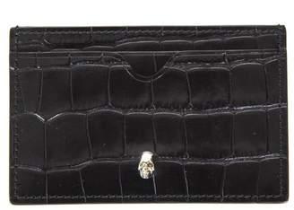 Alexander McQueen Black Skull Leather Cardholder With Crocodile Effect