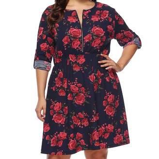 S.Charma Women Clothing Women's Plus Size Dress, S.Charma Casual Loose Long Sleeve T-Shirt Mini Skirt