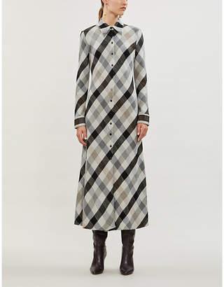 Rosetta Getty Checked cotton-blend shirt dress