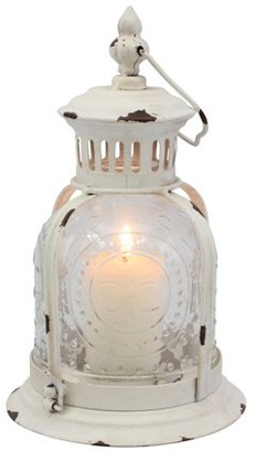 STONEBRIAR COLLECTION Country Rustic Worn White Metal Candle Lantern