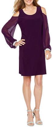 MSK Long Sleeve Cold Shoulder Embellished Shift Dress