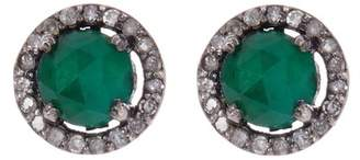 ADORNIA Sterling Silver Echo Emerald & Champagne Diamond Halo Stud Earrings