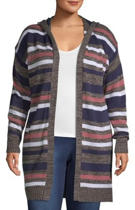 What's Next Women's Plus All Over Striped Cardigan