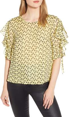 1 STATE 1.STATE Flower Etching Ruffle Sleeve Top