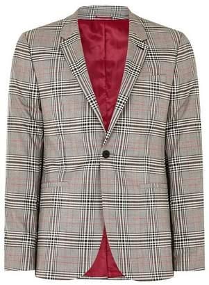Topman Mens Light Gray Check With Red Stripe Skinny Blazer
