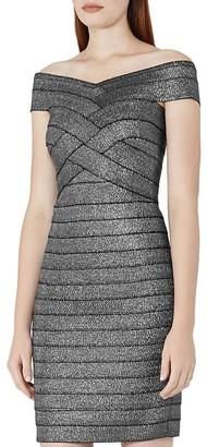 REISS Hartley Off-The-Shoulder Bandage Dress $370 thestylecure.com