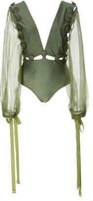 Agua de Coco Long Sleeved One Piece Swimsuit Size: XL