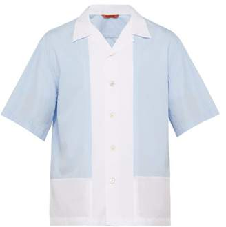 Barena Venezia - Contrast Panel Cotton Shirt - Mens - Blue