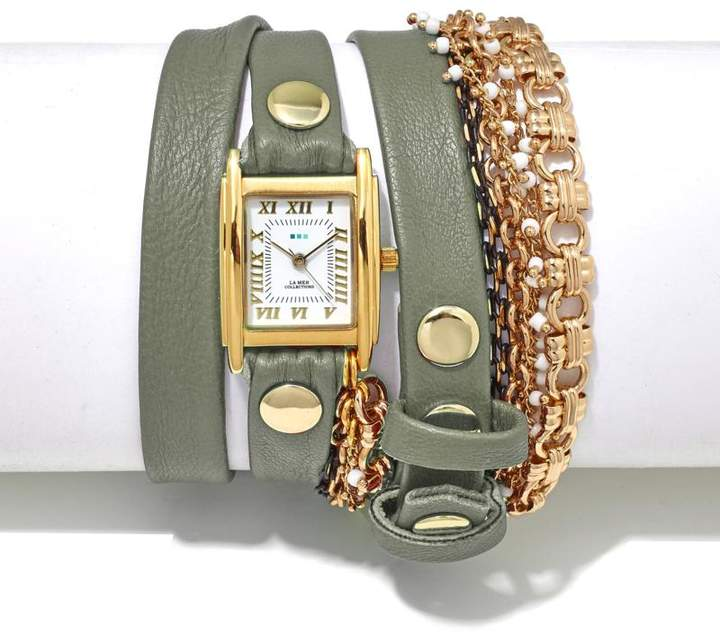 La Mer Pollara Goldtone and Beaded Chain Genuine Leather Wrap-Design Watch