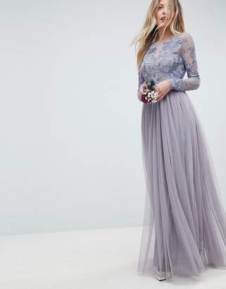 Asos DESIGN Bridesmaid embroidered mesh maxi dress