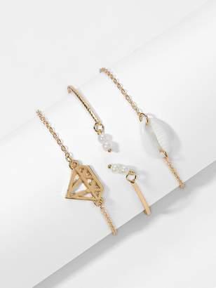 Shein Diamond & Shell Decorated Bracelet Set 3pcs