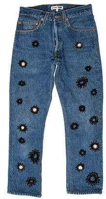 RE/DONE Embellished Mid-Rise Denim Jeans w/ Tags