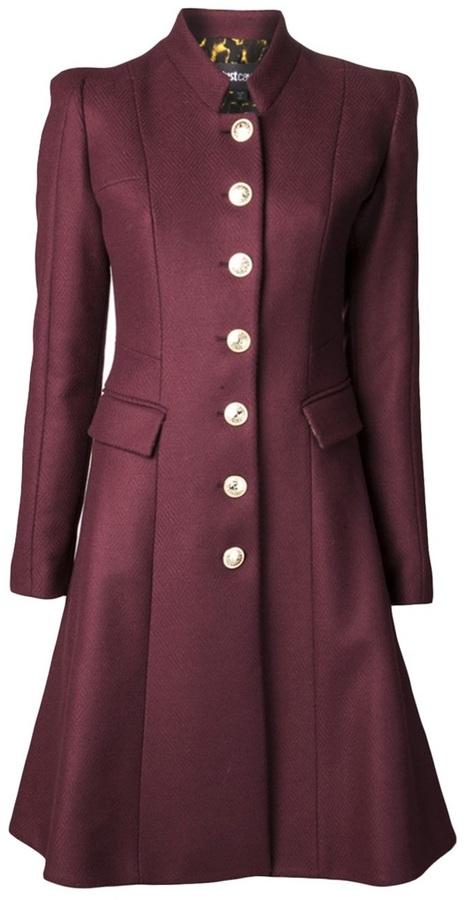 Just Cavalli single breasted flared coat