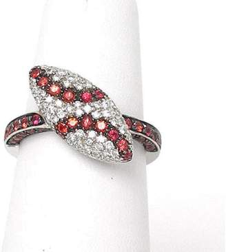 18k White Gold .65ct Diamond & Garnet Marquise Shape Ladies Ring