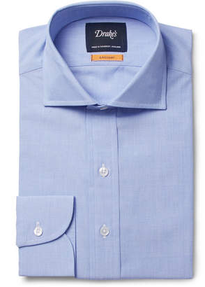 Drakes Drake's - Blue Easyday Cutaway-Collar End-on-End Cotton Shirt - Blue