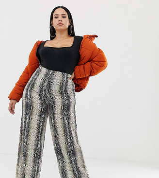 92aabd7fa3f PrettyLittleThing Plus Plus exclusive plus wide leg trouser in snake print