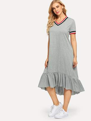 Shein Striped Trim Ruffle Hem High Low Dress