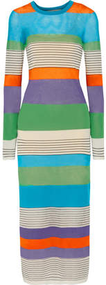 Diane von Furstenberg - Striped Stretch Cotton-blend Midi Dress - Blue $400 thestylecure.com