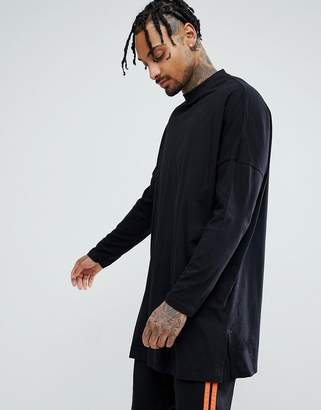 Asos Extreme Oversized Long Sleeve T-Shirt With Side Splits In Black