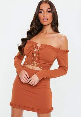 Missguided Rust Lace Up Bardot Dress, Rust