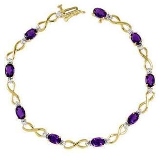 "7"" Gemstone Diamond Accent Infinity Bracelet, 1 4K Gold"
