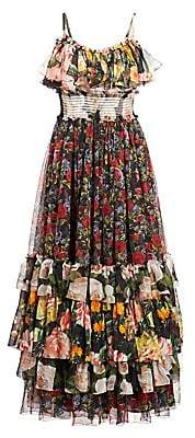 Dolce & Gabbana Dolce& Gabbana Dolce& Gabbana Women's Sleeveless Tiered Floral Maxi Dress
