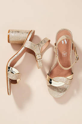 Vanessa Wu Metallic Wave Heeled Sandals