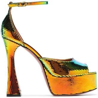 Amina Muaddi Multicoloured Bianca 140 platform leather sandals