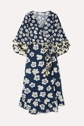 Apiece Apart Beja Ruffled Floral-print Linen And Cotton-blend Wrap Dress - Navy