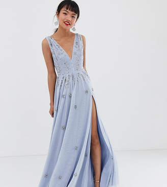 ff0547f944 Dolly & Delicious Petite plunge front embellished maxi dress with high  thigh split in ice blue