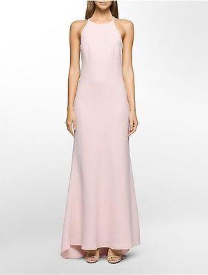 Calvin KleinCalvin Klein Womens Crepe Halter Gown Dress