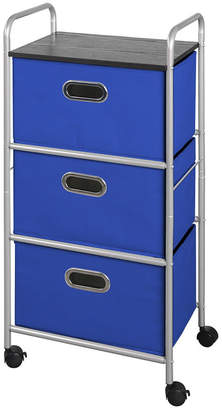 3-Drawer Storage Cart with Mdf Top, Blue Bins