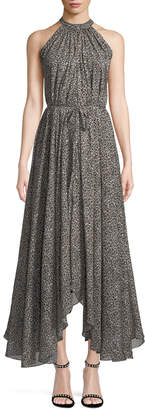 Saloni Irina Sleeveless Leopard-Print Asymmetric Dress