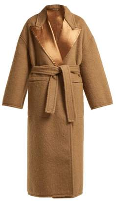 Bottega Veneta Contrast Panel Tie Waist Wool Coat - Womens - Camel