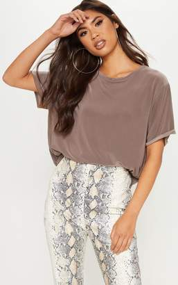 PrettyLittleThing Taupe Slinky T Shirt