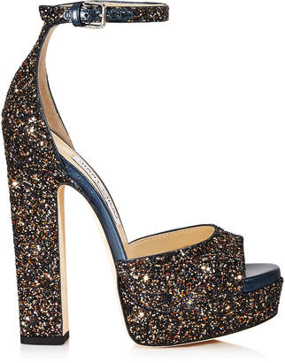 d11548e706a Jimmy Choo LIBERTY 150 Amethyst Mix Twinkle Glitter Fabric Open Toe Platform  Sandals