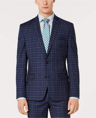 Bar III Men Slim-Fit Stretch Dark Blue Plaid Suit Jacket