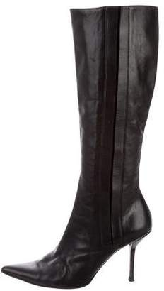 Narciso Rodriguez Leather Pointed-Toe Boots
