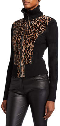 Elie Tahari Evita Calf-Hair Zip-Front Sweater Jacket