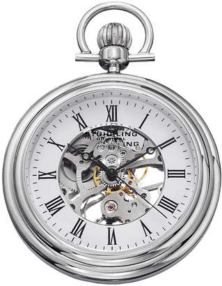 Stuhrling Original Sthrling Original Mens Stainless Steel Skeleton Automatic Pocket Watch